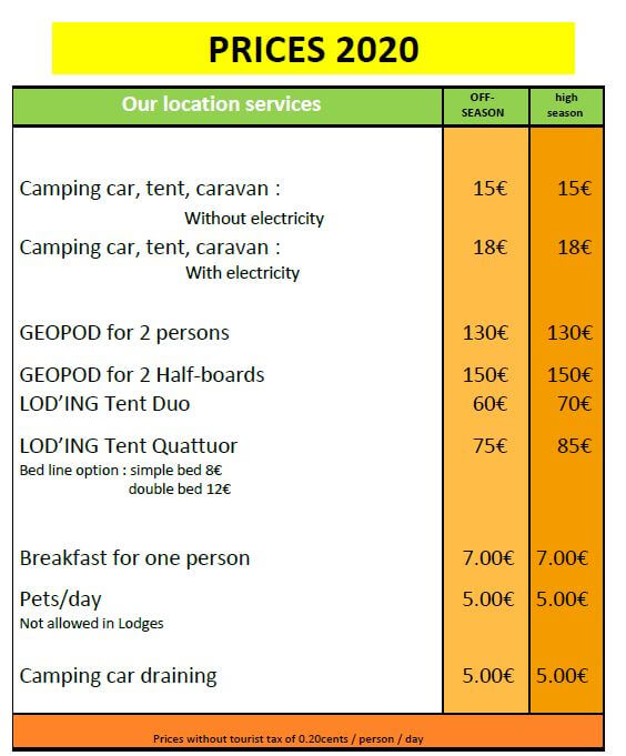 Prices of Under the stars campsite 2020