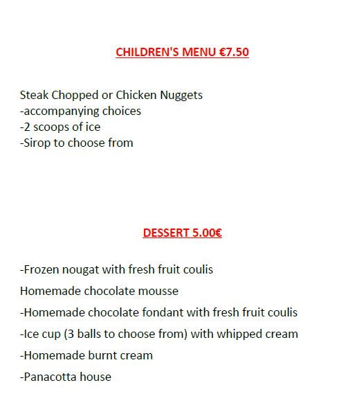 children menu and desserts of restaurant of the camping under the stars near from astro center 04